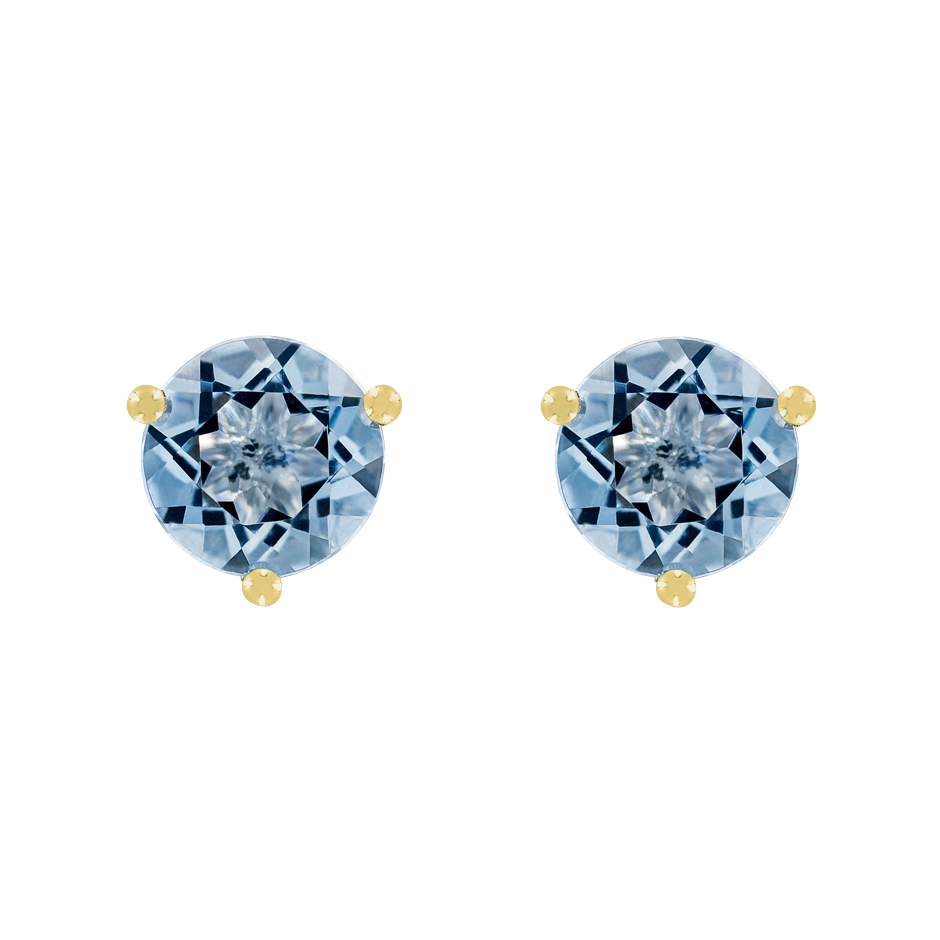 Stud Earrings 3 Prongs Aquamarine blue in Yellow Gold