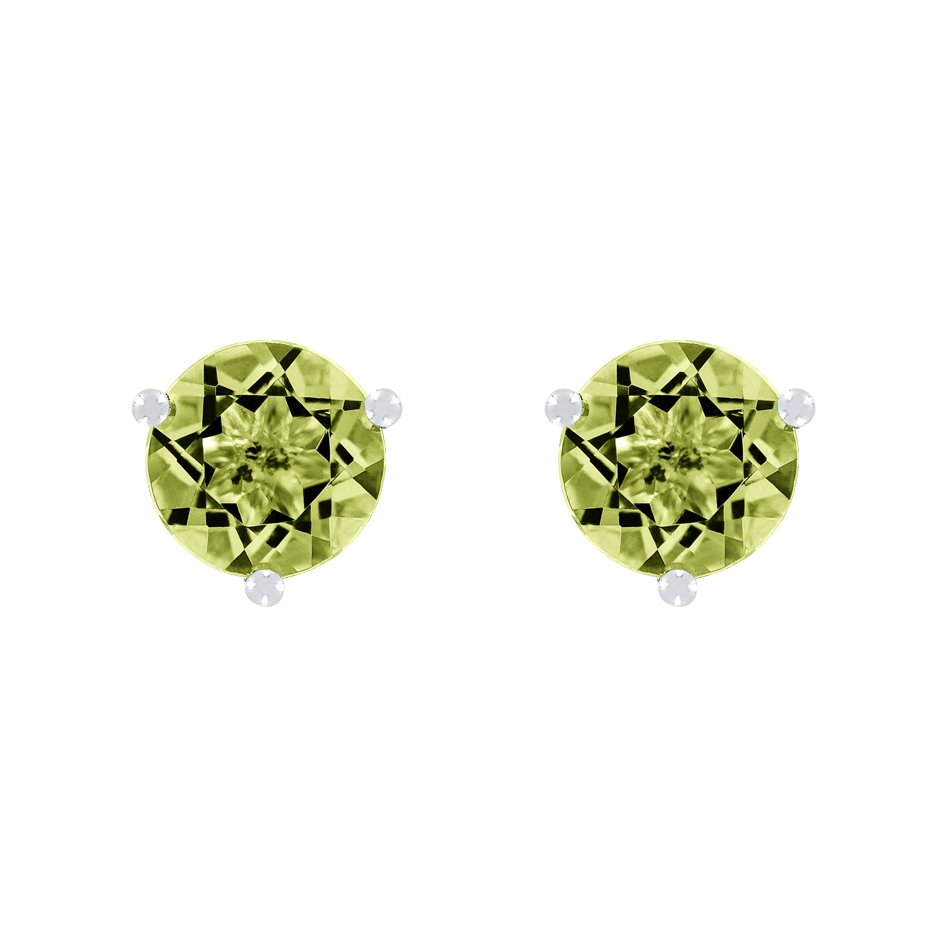 Stud Earrings 3 Prongs Peridot green in Platinum