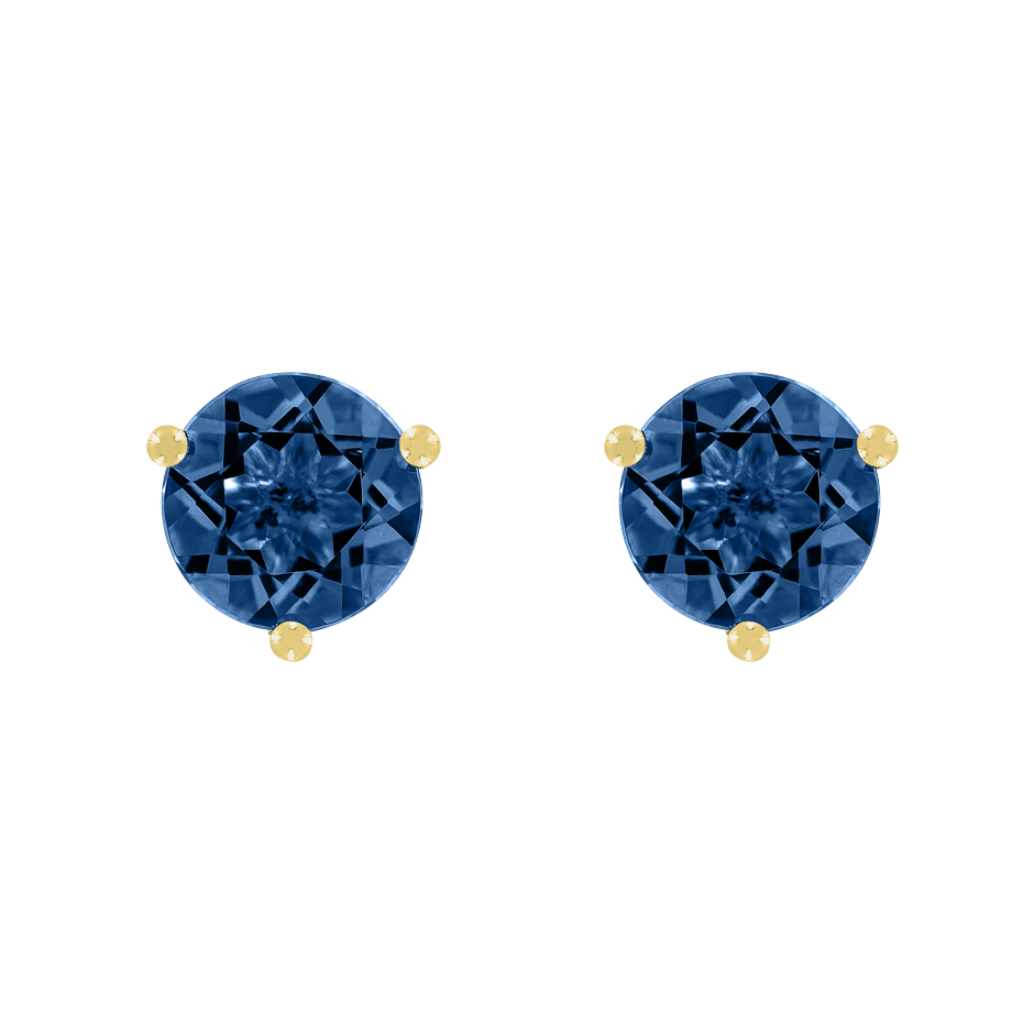 Stud Earrings 3 Prongs Sapphire blue in Yellow Gold