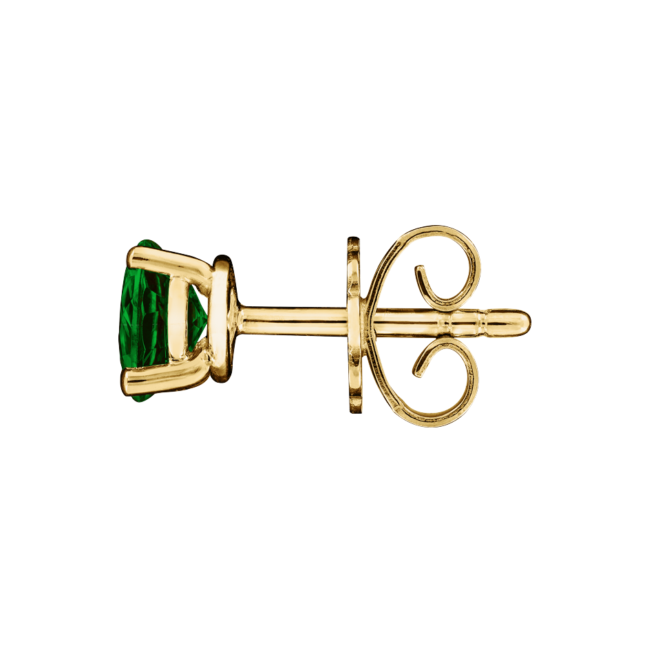 Stud Earrings 3 Prongs Tourmaline green in Yellow Gold