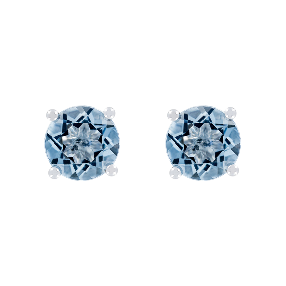 Stud Earrings 4 Prongs Aquamarine blue in White Gold