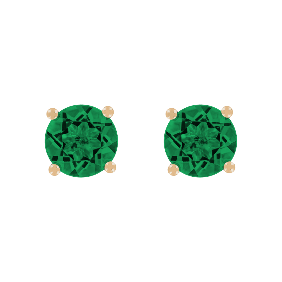 Stud Earrings 4 Prongs Emerald green in Rose Gold