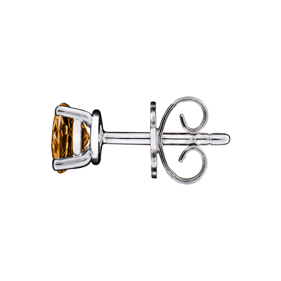 Stud Earrings 4 Prongs Madeira Citrine orange in Platinum