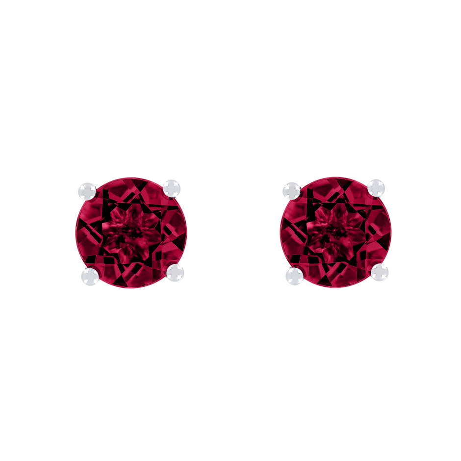 Stud Earrings 4 Prongs Ruby red in Platinum