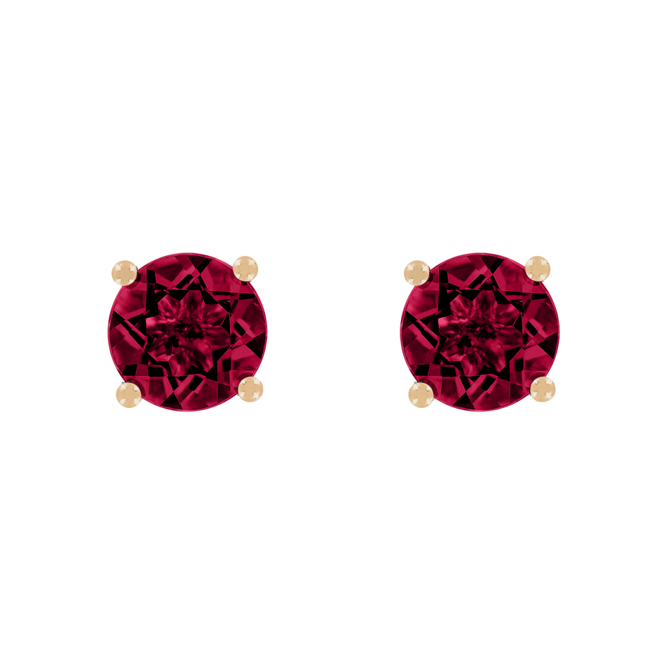 Stud Earrings 4 Prongs Ruby red in Rose Gold