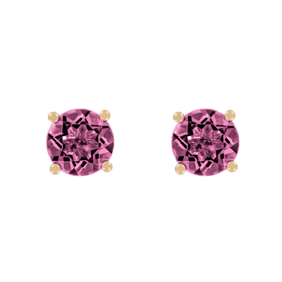Stud Earrings 4 Prongs Tourmaline pink in Rose Gold