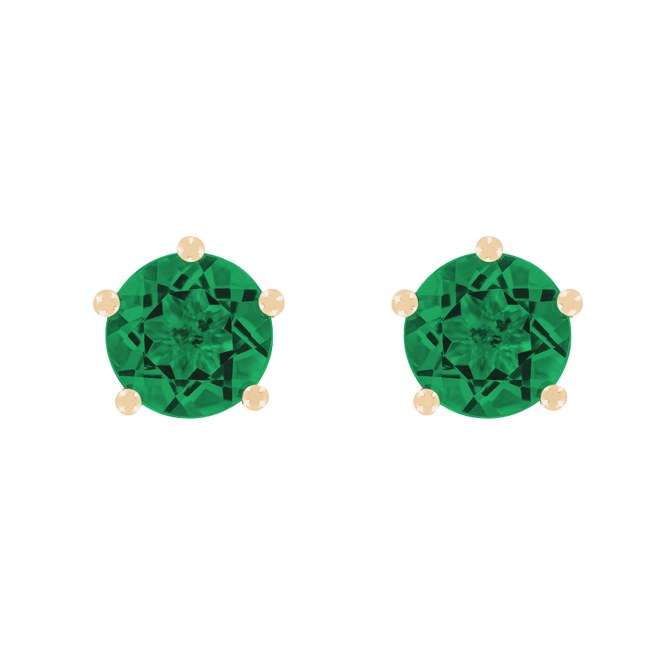 Stud Earrings 5 Prongs Emerald green in Rose Gold