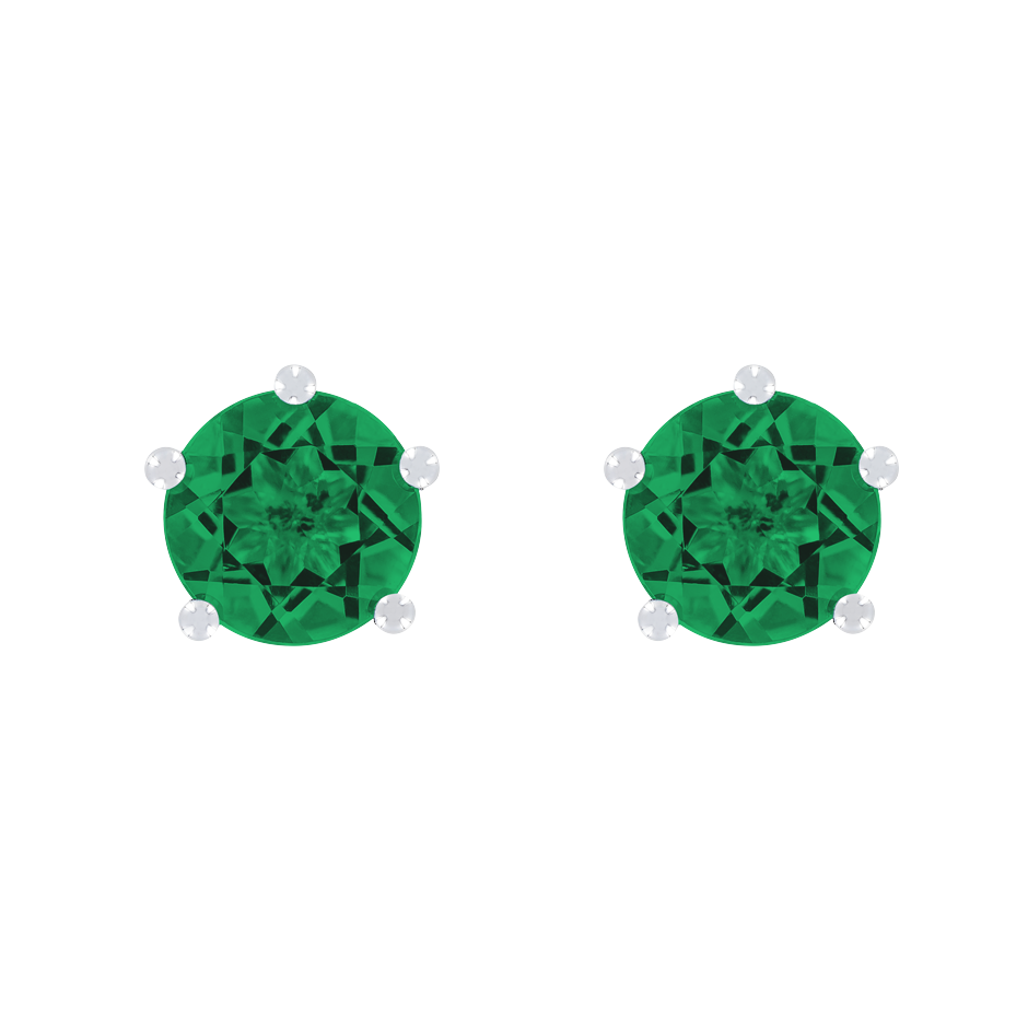 Stud Earrings 5 Prongs Emerald green in White Gold
