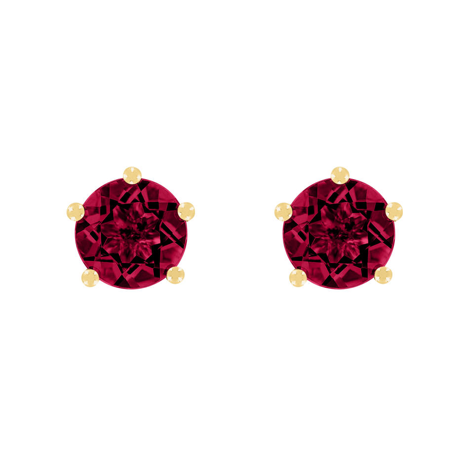 Stud Earrings 5 Prongs Ruby red in Yellow Gold