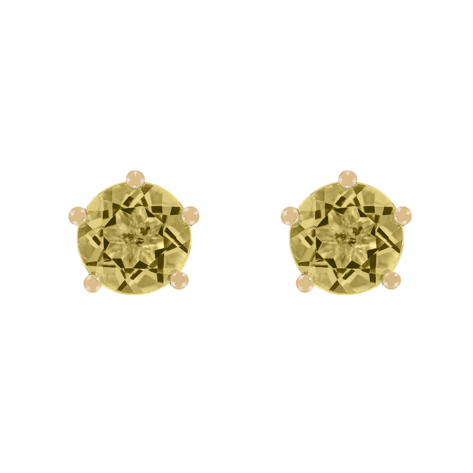 Stud Earrings 5 Prongs Sapphire yellow in Yellow Gold
