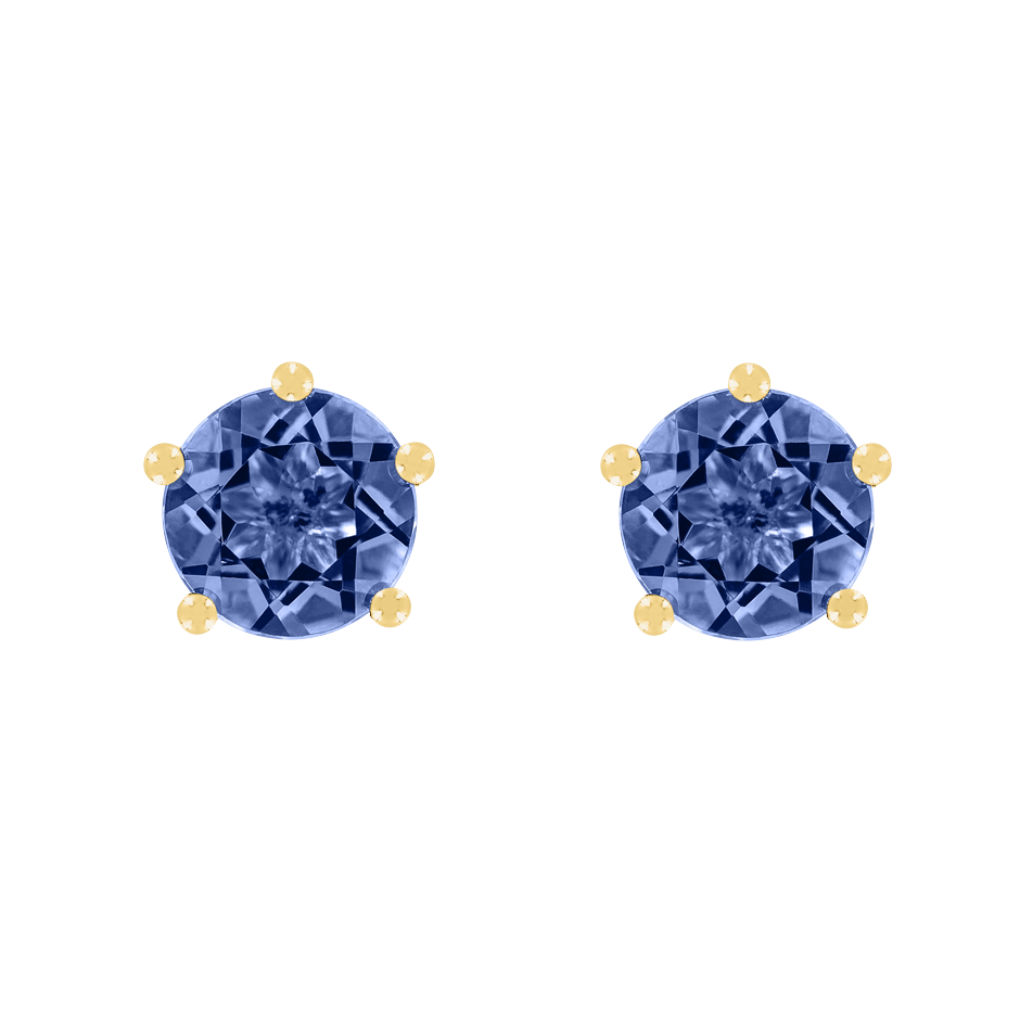 Stud Earrings 5 Prongs Tanzanite blue in Yellow Gold