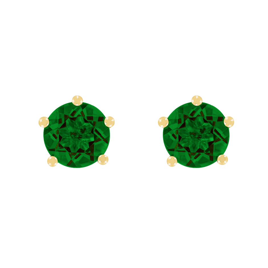 Stud Earrings 5 Prongs Tourmaline green in Yellow Gold