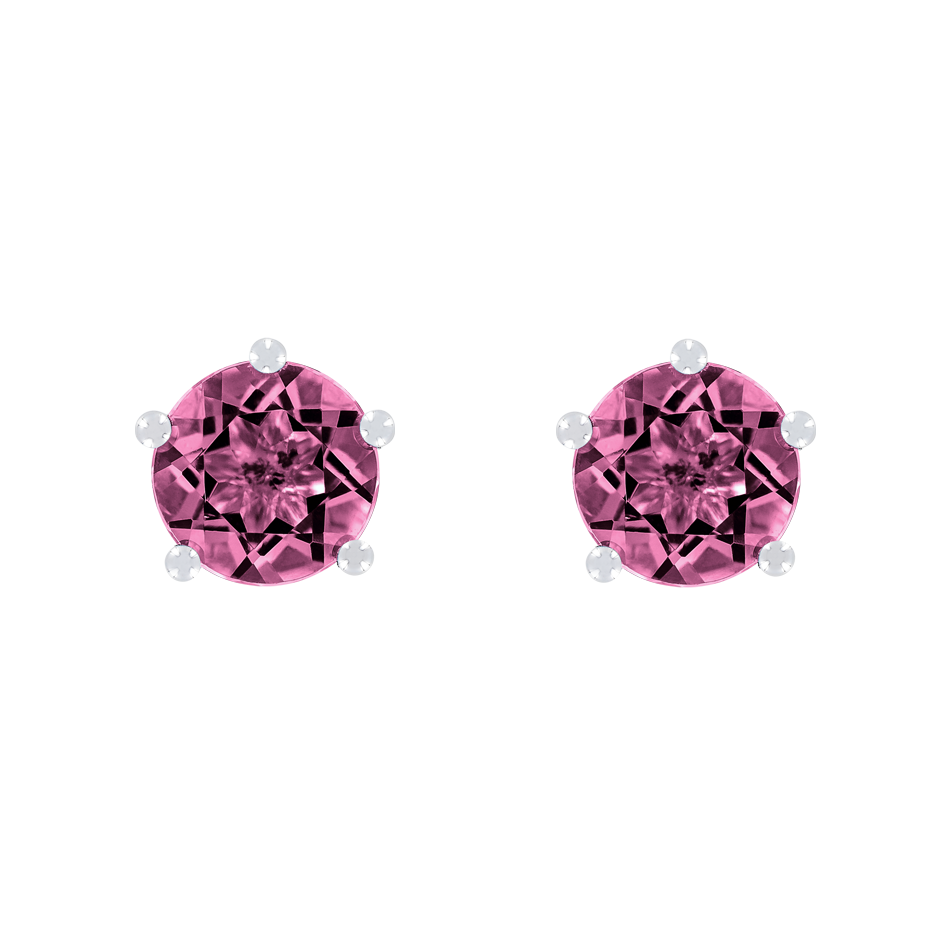 Stud Earrings 5 Prongs Tourmaline pink in Platinum