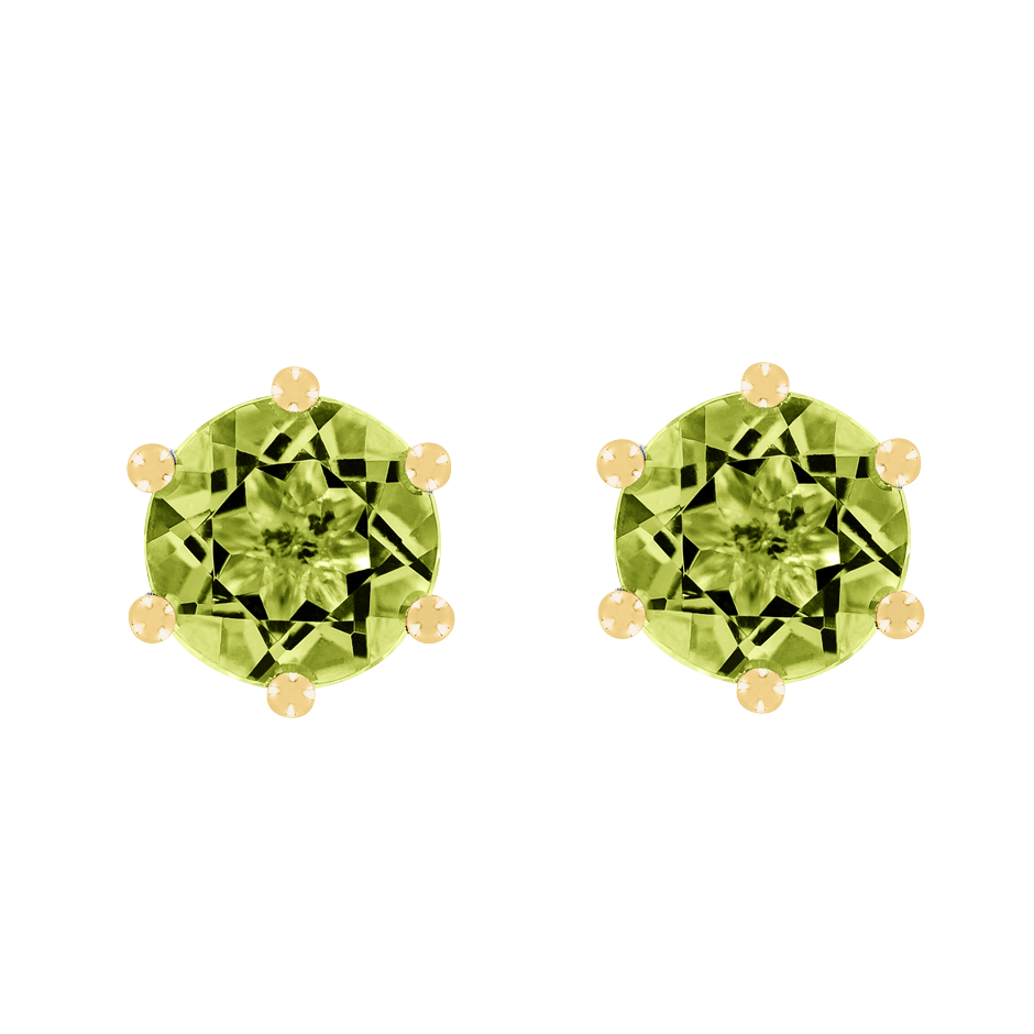 Stud Earrings 6 Prongs Peridot green in Yellow Gold