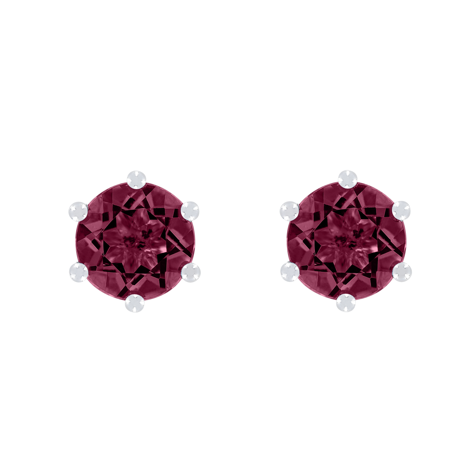 Stud Earrings 6 Prongs Rhodolite red in White Gold