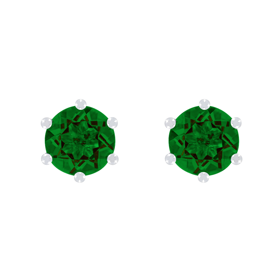 Stud Earrings 6 Prongs Tourmaline green in Platinum