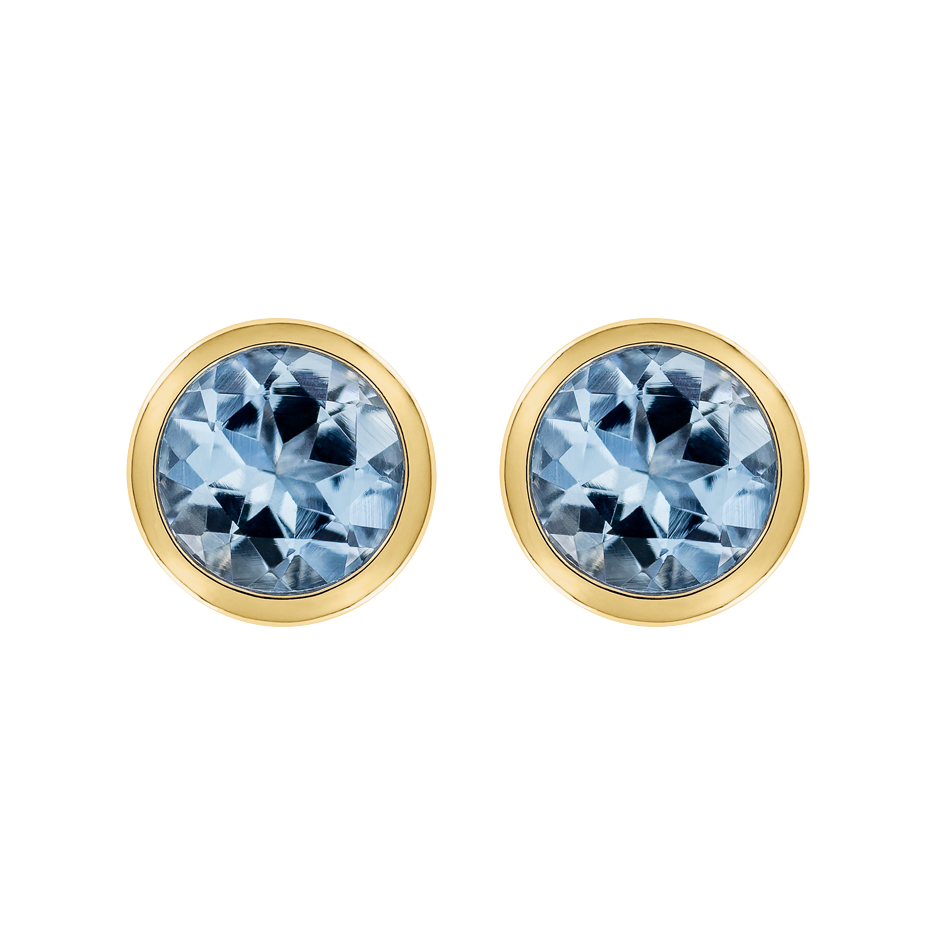 Stud Earrings Bezel Aquamarine blue in Yellow Gold
