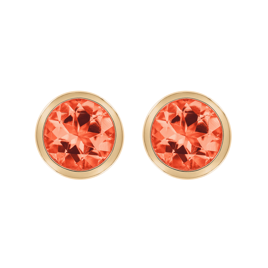 Stud Earrings Bezel Fire Opal orange in Rose Gold