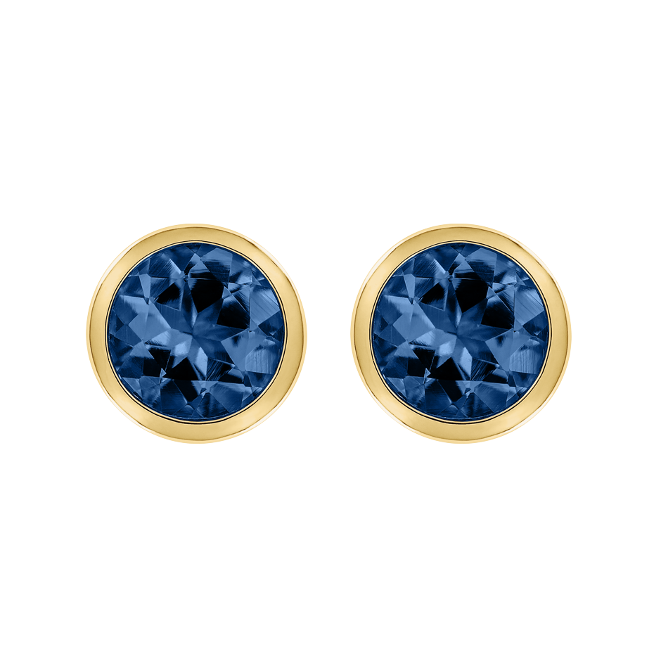 Stud Earrings Bezel Sapphire blue in Yellow Gold