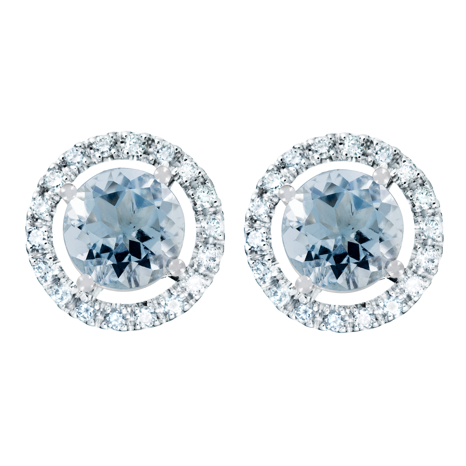 Stud Earrings Halo Aquamarine blue in White Gold
