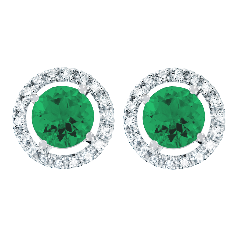 Stud Earrings Halo Emerald green in Platinum