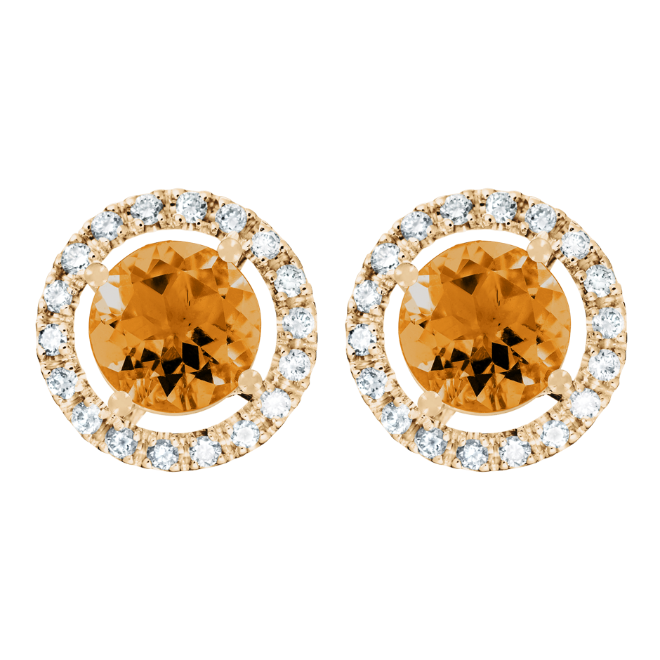 Stud Earrings Halo Madeira Citrine orange in Rose Gold