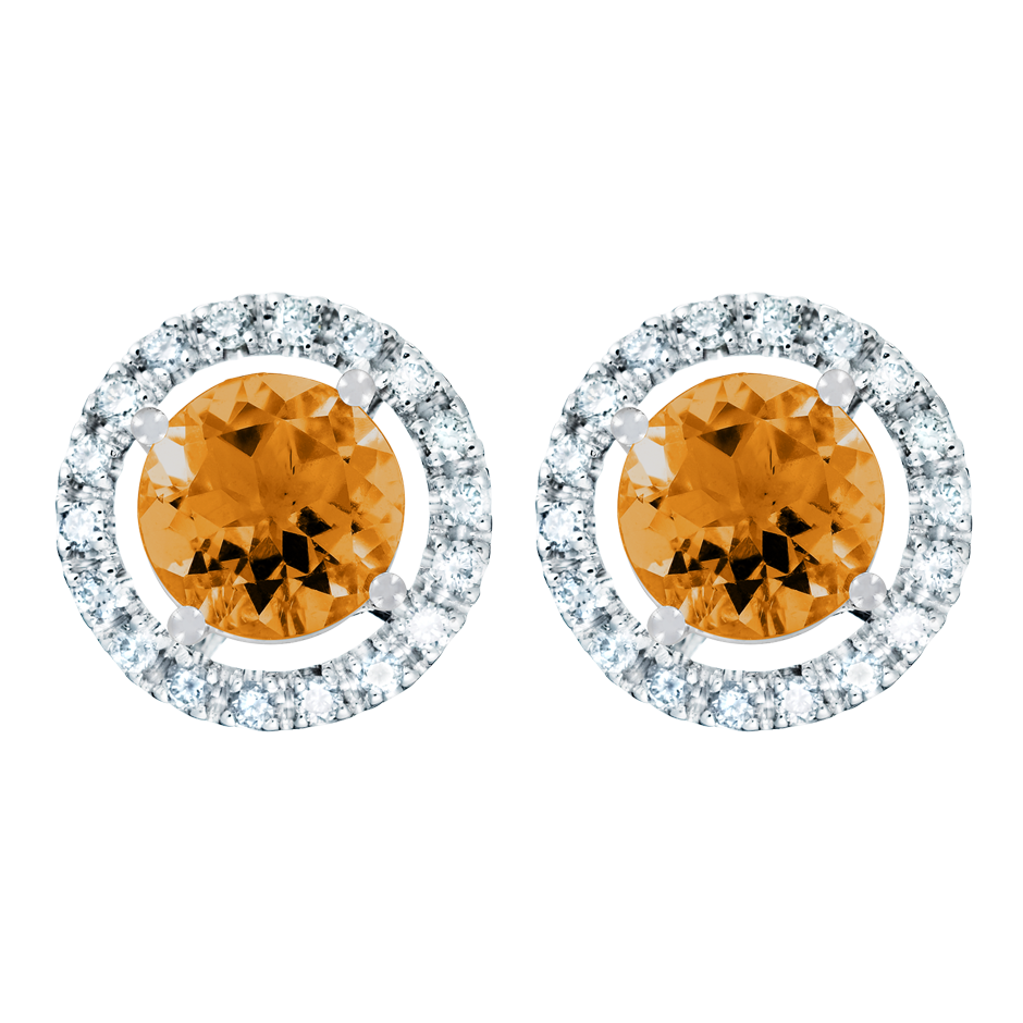 Stud Earrings Halo Madeira Citrine orange in White Gold