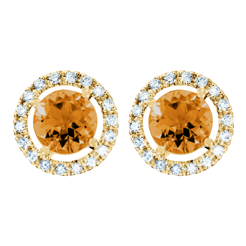 Stud Earrings Halo Madeira Citrine orange in Yellow Gold