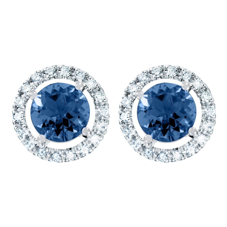Stud Earrings Halo Sapphire blue in Platinum