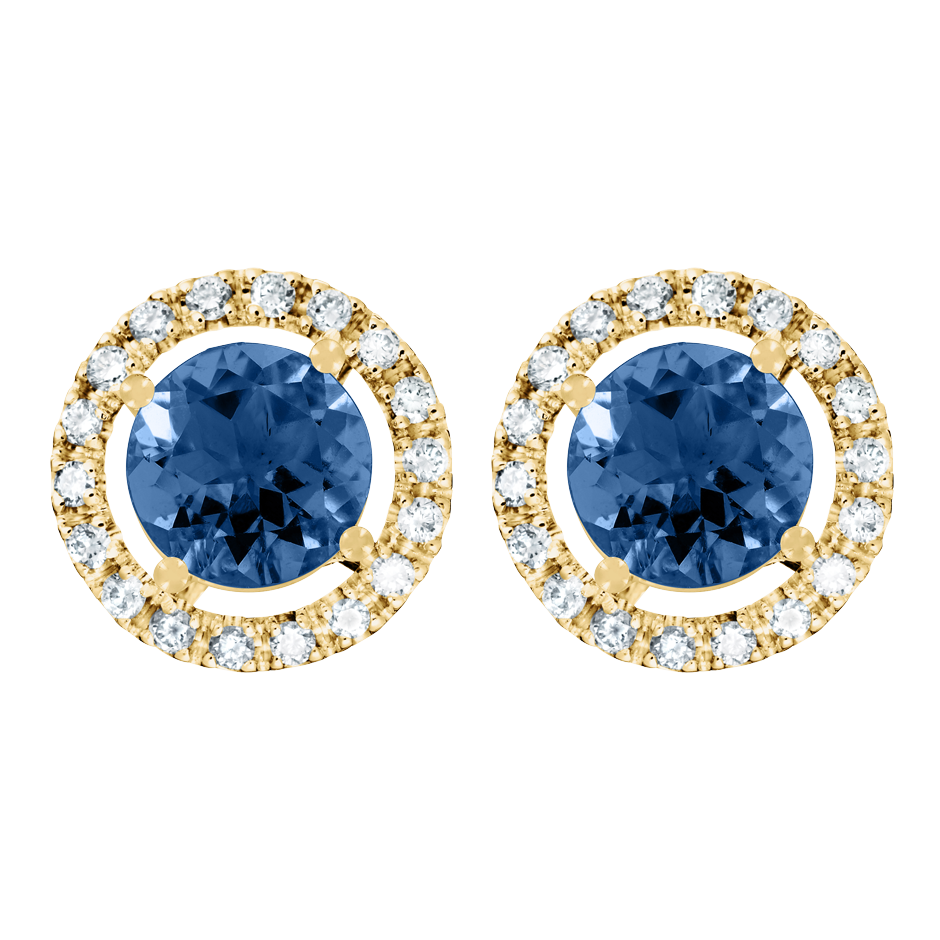 Stud Earrings Halo Sapphire blue in Yellow Gold