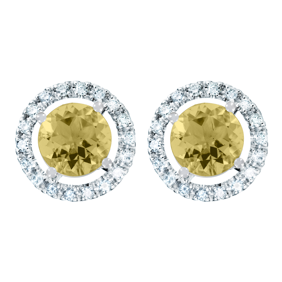Stud Earrings Halo Sapphire yellow in Platinum