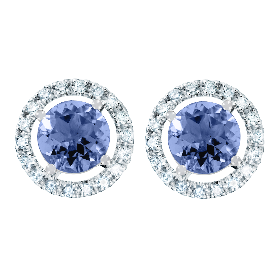 Stud Earrings Halo Tanzanite blue in White Gold