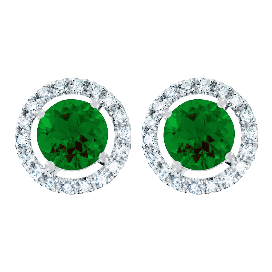 Stud Earrings Halo Tourmaline green in White Gold