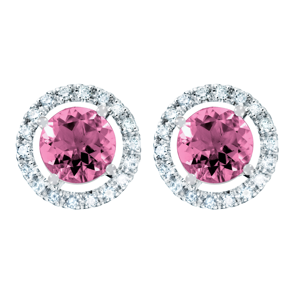 Stud Earrings Halo Tourmaline pink in Platinum