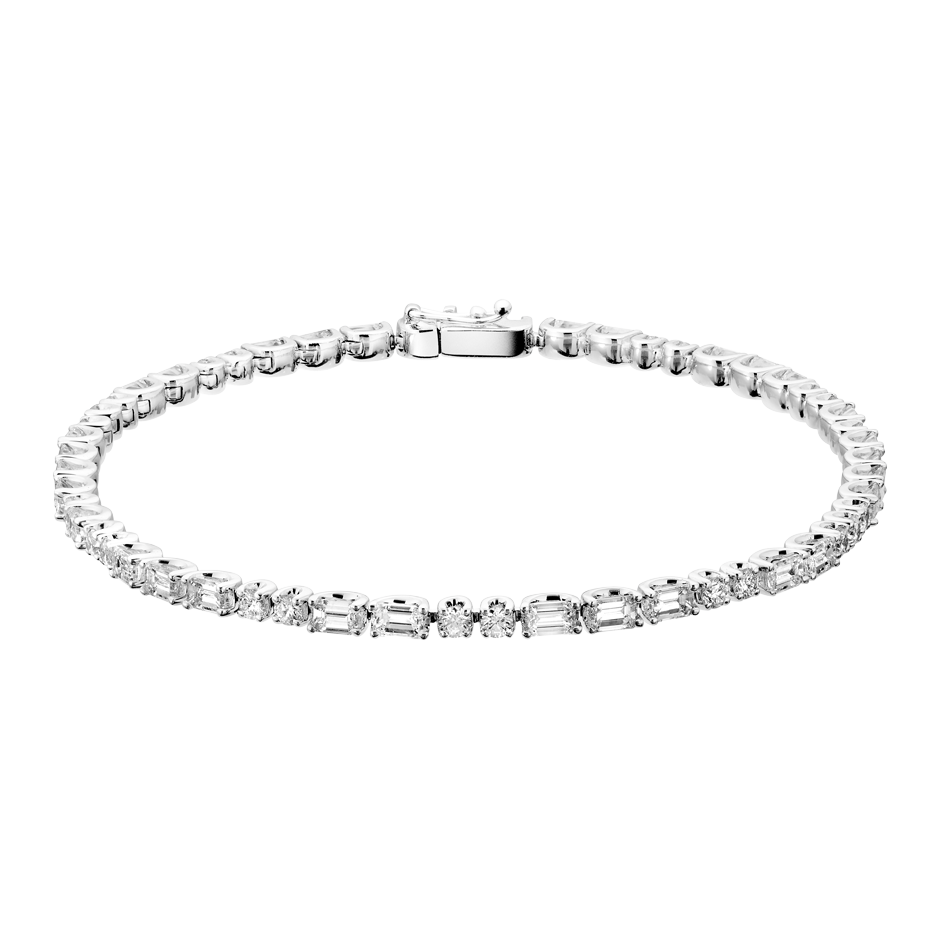 Tennis Bracelet Emerald in White Gold